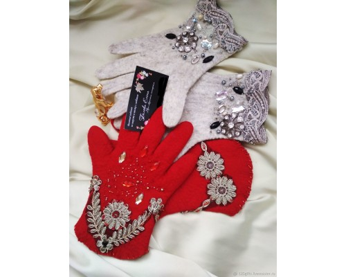 Перчатки валяные из шерсти в стиле DG